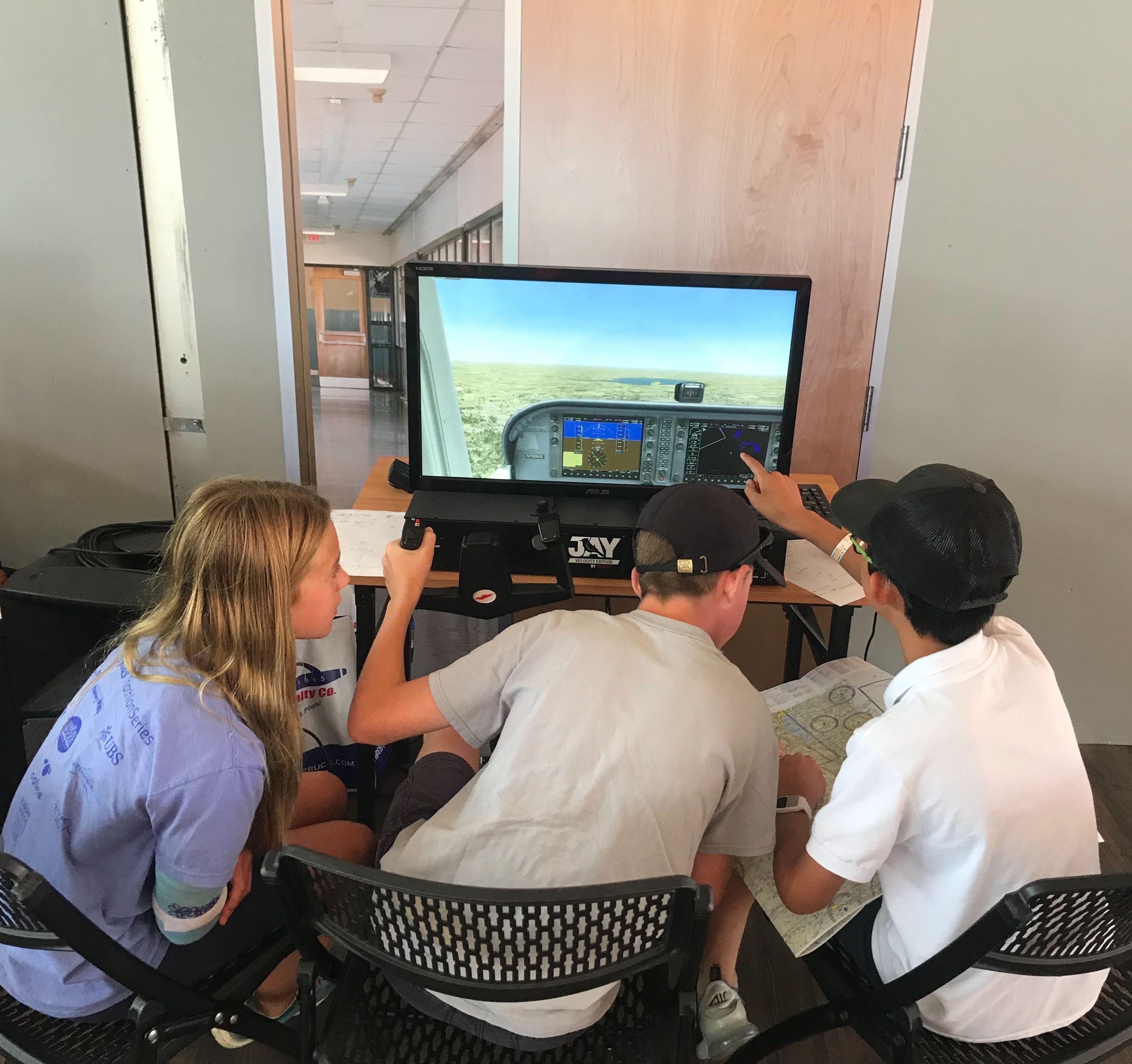 Students in the Redbird STEM Lab at AirVenture