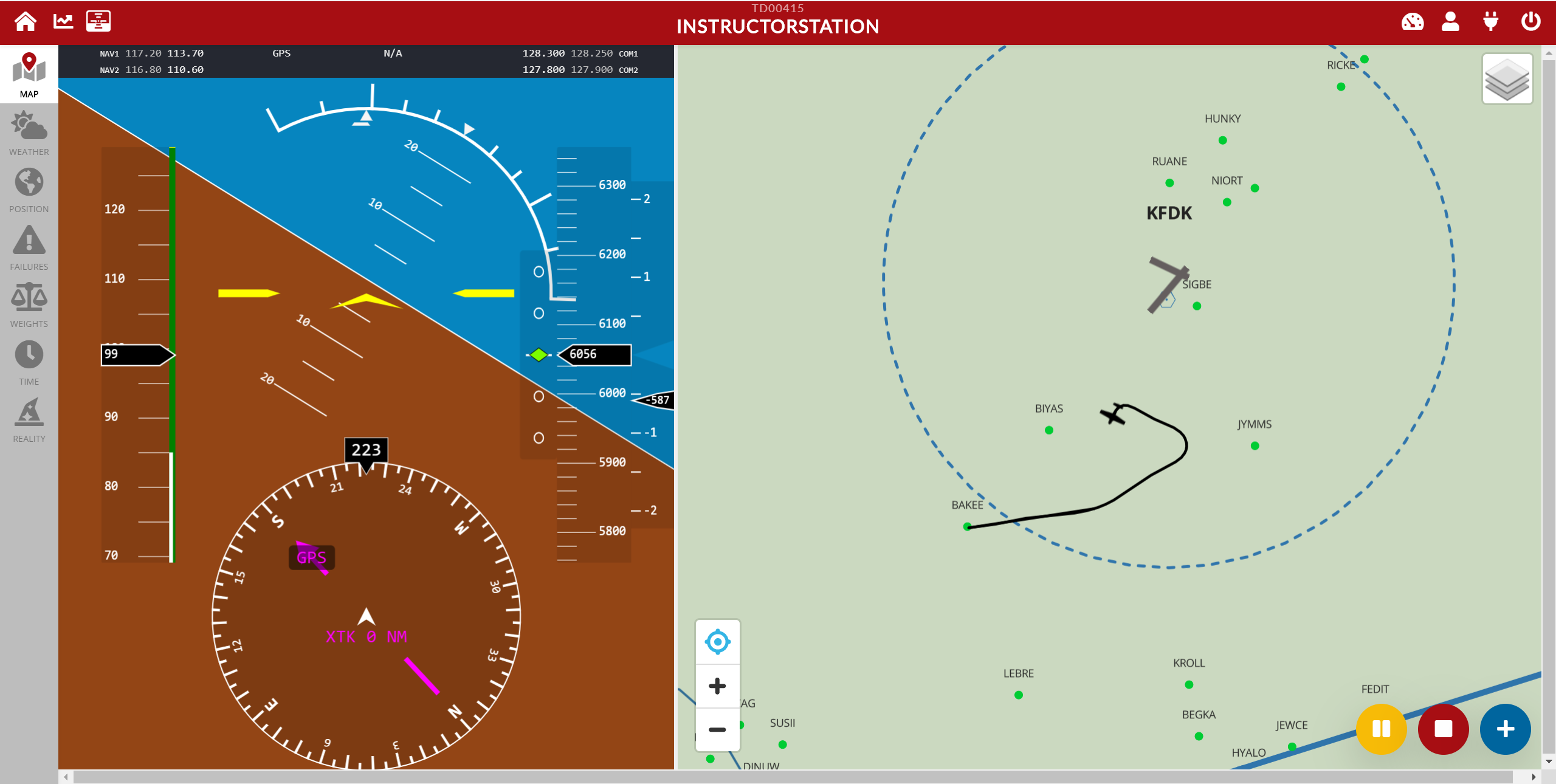 Redbird Connect instructor view with PDF and moving map display